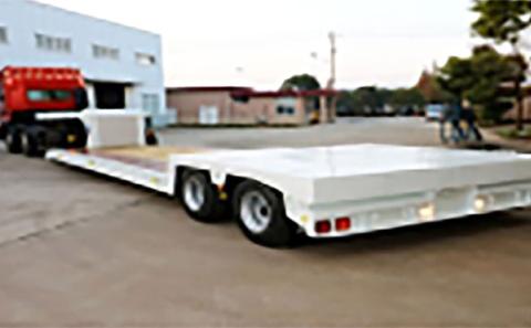 2軸16輪油圧サスペンション(グース昇降、グース脱着、荷台拡幅装置付)トレーラ